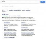 Googleで[NASA]と検索した時のサイトリンク表示