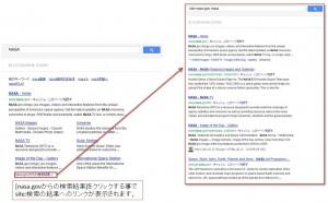 Googleのサイトリンク表示の下部のnana.govへの検索結果表示
