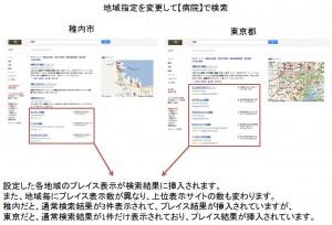 Googleの地域情報設定を【稚内市】と【東京都】で【病院】と検索した時の検索結果の比較