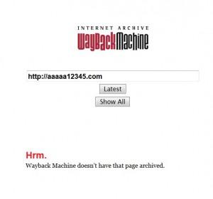 Wayback Machine過去の履歴が無い場合